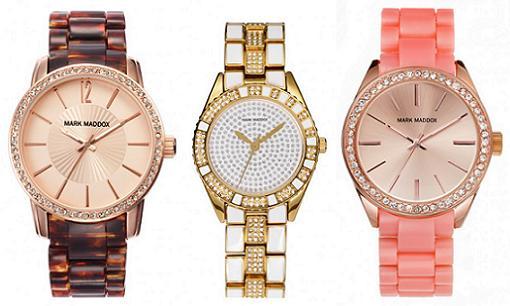Nuevos relojes mark maddox 2015 para mujer dorados for Relojes de pared el corte ingles