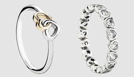 anillos de plata tipo pandora